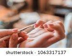 manicure nail design. manicure... | Shutterstock . vector #1063317137