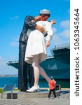 Unconditional Surrender Statue at the Tuna Harbor Park in San Diego, America. This massive thing is also called Kissing Sailor statue.