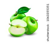 green apples slice | Shutterstock .eps vector #1063355351
