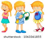 girl in three different outfits ... | Shutterstock .eps vector #1063361855
