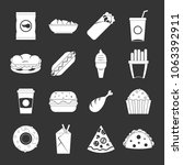 fast food icons set vector... | Shutterstock .eps vector #1063392911