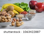 superfoods on a gray background ... | Shutterstock . vector #1063422887