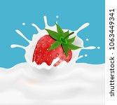 strawberry and milk splash.... | Shutterstock .eps vector #1063449341