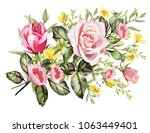 drawing with watercolor bouquet ... | Shutterstock . vector #1063449401
