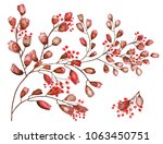 watercolor pattern twigs with... | Shutterstock . vector #1063450751