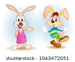 happy cute rabbit  | Shutterstock .eps vector #1063472051