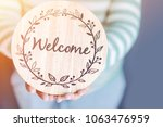 welcome concept.women holding... | Shutterstock . vector #1063476959