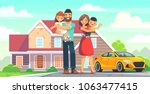 happy family in front of the... | Shutterstock .eps vector #1063477415