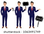 real estate agent in three... | Shutterstock .eps vector #1063491749