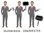 real estate agent in three... | Shutterstock .eps vector #1063491755