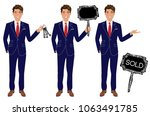 real estate agent in three... | Shutterstock .eps vector #1063491785