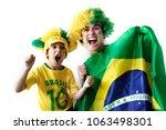 amazing scene of brazilian fans ... | Shutterstock . vector #1063498301