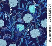 monotone blue floral pattern in ... | Shutterstock .eps vector #1063525304