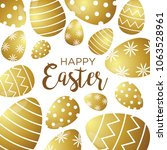 happy easter background with... | Shutterstock .eps vector #1063528961