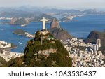 aerial view on the corcovado in ... | Shutterstock . vector #1063530437