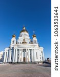 Small photo of Saransk, Russia - March 10, 2018: The Cathedral of the holy righteous warrior Theodore Ushakov