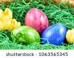colorful easter eggs stock... | Shutterstock . vector #1063565345