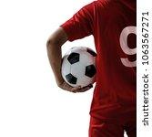 soccer player isolated on white ... | Shutterstock . vector #1063567271