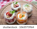 fruit pudding in glass with... | Shutterstock . vector #1063573964