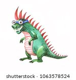 funny watercolor dragon   Shutterstock . vector #1063578524