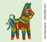 donkey pinata. engraving style. ... | Shutterstock .eps vector #1063581167