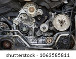 dirty disassembled car engine.    Shutterstock . vector #1063585811