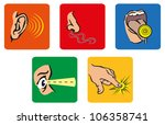 icons representing the 5 senses | Shutterstock . vector #106358741