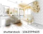 custom master bathroom design... | Shutterstock . vector #1063599605