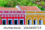 colorful houses from piranhas... | Shutterstock . vector #1063600715