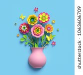 3d render  craft paper flowers  ... | Shutterstock . vector #1063606709