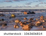 a rocky  wavy feel of the coast ... | Shutterstock . vector #1063606814
