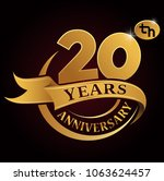 20 years golden anniversary... | Shutterstock .eps vector #1063624457