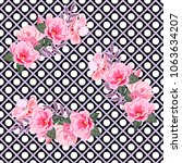 seamless pattern with cute pink ... | Shutterstock .eps vector #1063634207