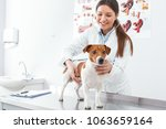 Stock photo happiness woman in a white robe listens to the dog s breathing 1063659164