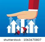 a big hand hinders the rise of... | Shutterstock .eps vector #1063670807