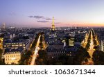 paris night with eiffel tower ... | Shutterstock . vector #1063671344