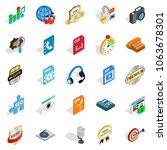 hi fi icons set. isometric set... | Shutterstock . vector #1063678301