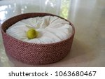 Stock photo an empty dog bed covered by a white cushion with a green tennis ball on a white floor 1063680467