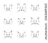 set of black cat faces ... | Shutterstock . vector #1063689365