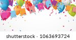 colorful birthday balloon with... | Shutterstock .eps vector #1063693724