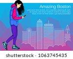 beautiful woman is keeping... | Shutterstock .eps vector #1063745435