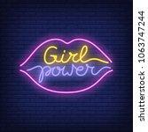 girl power neon text in lips...   Shutterstock .eps vector #1063747244
