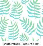 pastel leaves pattern. soft... | Shutterstock .eps vector #1063756484
