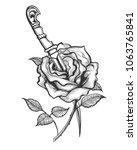 tattoo of rose flower pierced...   Shutterstock .eps vector #1063765841