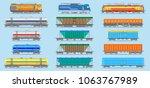 vector flat  railway locomotive ... | Shutterstock .eps vector #1063767989