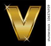 golden font type letter v | Shutterstock .eps vector #106376939