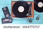 vintage vinyl player with... | Shutterstock . vector #1063772717