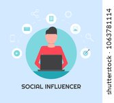 social influencer  social media ... | Shutterstock .eps vector #1063781114