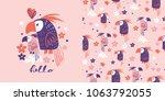cute parrots .seamless pattern | Shutterstock .eps vector #1063792055