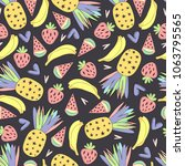 seamless fruit pattern with... | Shutterstock .eps vector #1063795565